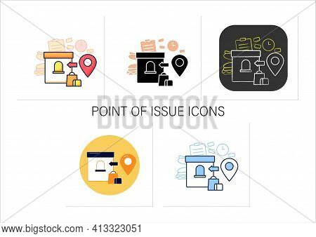 Point Of Issue Icons Set. Product Delivery Points. Online Shopping Concept. Sale Location.collection