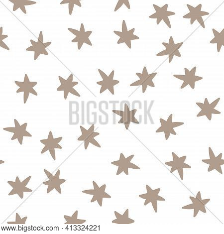 Vector Star Scandinavian Seamless Pattern Retro Background. Chaotic Elements. Abstract Geometric Sha
