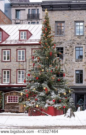 Christmas Tree On The Royal Place In The Old Quebec City.