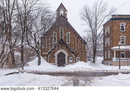 Quebec City, Quebec, Canada - 17 January 2021:the Quebec Baptist Church Of Quebec City.