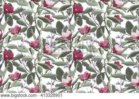 Vector Floral Seamless Pattern. Green Foliage, Purple Sage, Pink And Maroon Flowers.