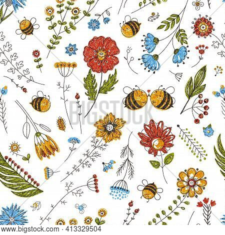 Cute Bee Pattern Seamless Background. Bees And Flowers, Cartoon Insects Seamless. Adorable Spring Su