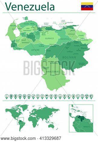 Venezuela Detailed Map And Flag. Venezuela On World Map.