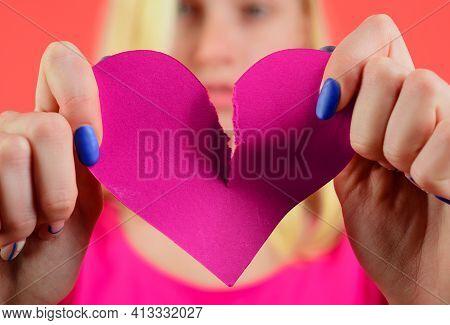 Broken Heart. Woman Tearing Heart In Half. Divorce, Parting, Separation. Relationship Problem. Break