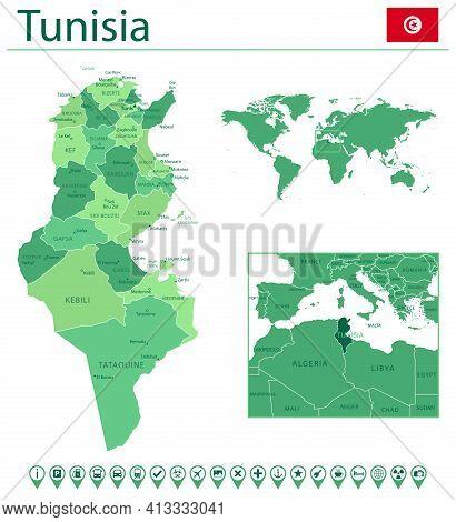 Tunisia Detailed Map And Flag. Tunisia On World Map.