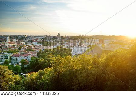 Vilnius Old Town, One Of The Largest Surviving Medieval Old Towns In Northern Europe. Summer Landsca