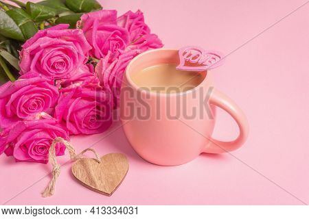 Morning Coffee With A Beautiful Bouquet Of Roses