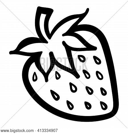 Strawberry Berry Monochrome Black And White Isolated Sketch Line Art Vector Icon