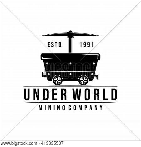 Mining Cart Logo Vector Vintage Illustration Design. Pickax Or Pickaxe Tools Of Mining Logo Concept