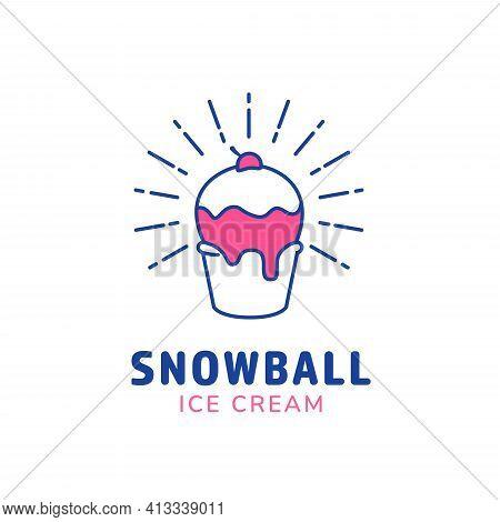 Ice Cream Snowball Cup Logo Icon Symbol In Monoline Style