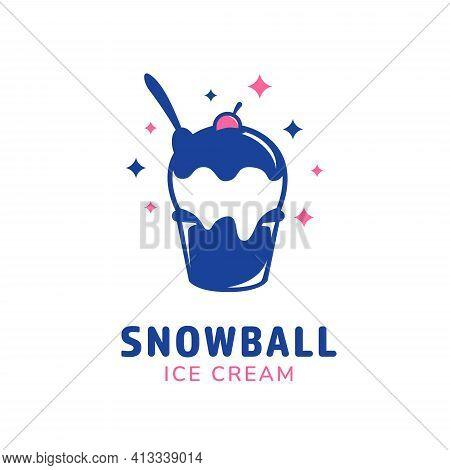 Snowball Ice Cream Cup Logo Icon Blue