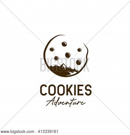 Cookie Cookies Outdoor Adventure Logo Icon With Mountain, Forest And Chocolate Chip Star Illustratio
