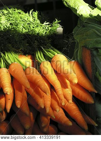 Pile Of Carrots At A Street Fair Stall In Brazil