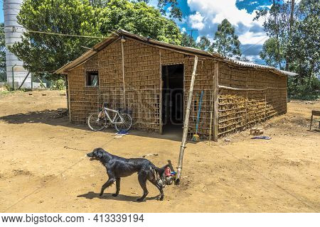 Sao Paulo, Brazil, February 16, 2017. House Of Clay Built And Stick A Pike And Paja Clay, In The Rur