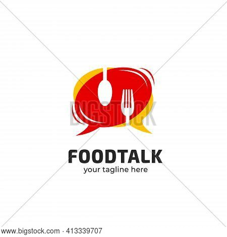 Foodie Food Talk Logo Icon Symbol Good For Podcast, Community, Forum, Cafe, Restaurant Or Any Food R