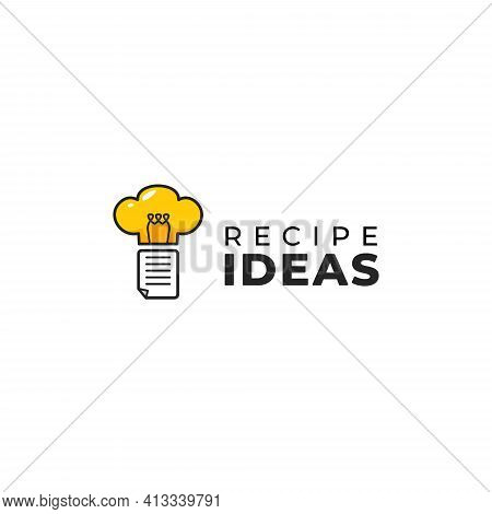 Cooking Recipe Idea Logo With Recipe Sheet And Cooking Hat As Bulb Inspiration Idea Icon Illustratio
