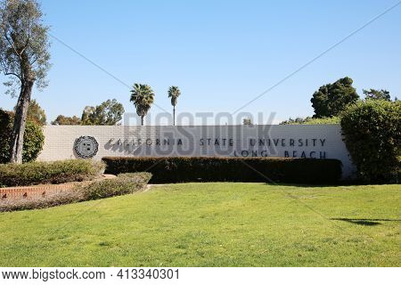 March 15, 2021- Long Beach, California: Entrance Sign for California State University, Long Beach. Editorial Use Only.