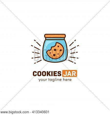 Cookies Jar Cookie Logo Inside Glass Jar Icon Symbol Vector Template
