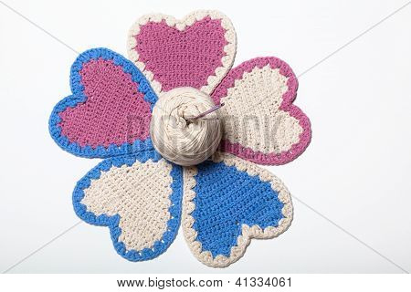 Crochet Knitted Hearts Flower