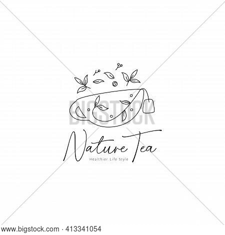 Nature Herbal Tea Logo With Leaf And Flower Decoration Vector Icon Symbol Elegant Rustic Style