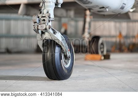 Front Landing Gear Of Aircraft On The Ground