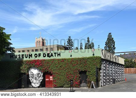 LOS ANGELES - NOVEMBER 24, 2017: Museum of Death. Established in 1995 by J. D. Healy and Catherine Shultz, the museum displays a wide variety of art and artifacts surrounding the subject of death.