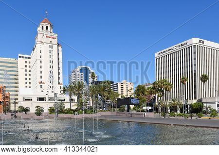 LONG BEACH, CALIF - SEPT 10, 2018: The Breakers Hotel is a landmark 14-story building on East Ocean Boulevard in downtown Long Beach currently undergoing renovation.