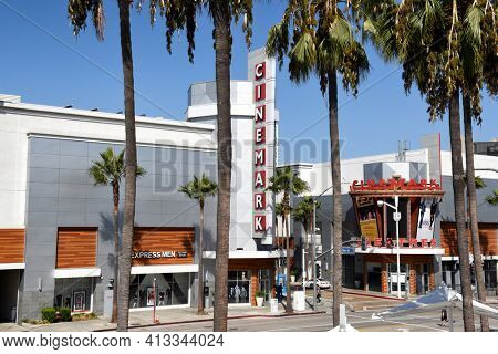 LONG BEACH, CALIF - SEPT 10, 2018: Cinemark at the Pike seen from the Long Beach Convention Center.