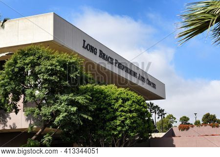 LONG BEACH, CALIF - SEPT 10, 2018: Long Beach Performing Arts Center is home to the Terrace Theater, Center Theater, and Seaside Ballroom.