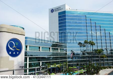 LONG BEACH, CALIFORNIA - JANUARY 30, 2019: Hyatt Regency Hotel. Adjacent to the Long Beach Convention and Entertainment Center the hotel has ocean views in an urban setting.