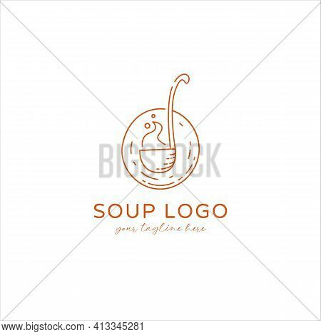Soto Soup Logo With Soup Ladle Paddle Icon Symbol In Monoline Vintage Style Vector