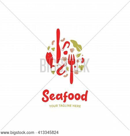 Seafood Food Restaurant Gourmet Catering Logo With Fish, Mushroom, Shrimp, Fork And Knife Icon Symbo
