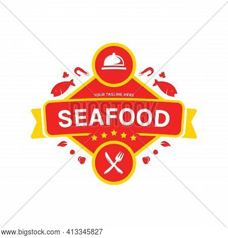 Seafood Restaurant Catering Gourmet Logo Icon Badge With Knife Fork And Cloche Dish Cover Illustrati