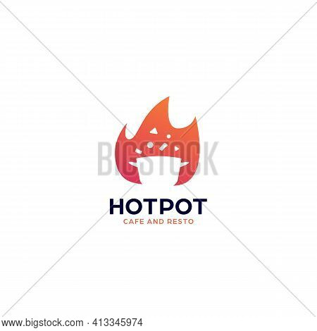 Hot Cooking Pot Spicy Cuisine Restaurant Food Logo Icon Symbol With Flame Fire Illustration