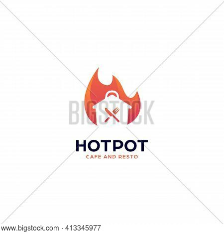 Hot Spicy Cooking Pot Logo For Cafe, Restaurant, Or Catering With Fire Flame Icon Vector Illustratio