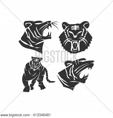 Tiger Strong Animal Mascot Illustration Template Set