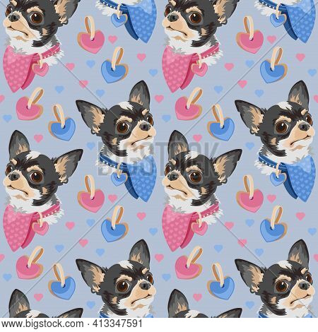 Dog Breed Chihuahua Seamless Pattern. Pet Head. Vector Flat Background.