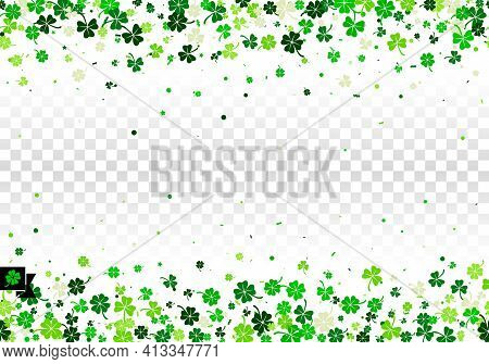 Seamless Border Background With Four Leaved Green Clover And Shamrock For Saint Patrick's Day Greeti