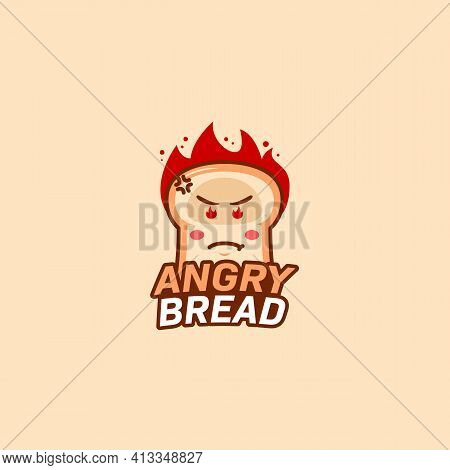 Angry Bread Bakery Logo Icon Bread Cartoon Mascot With Mad Angry Flame Burning Head And Eyes Illustr