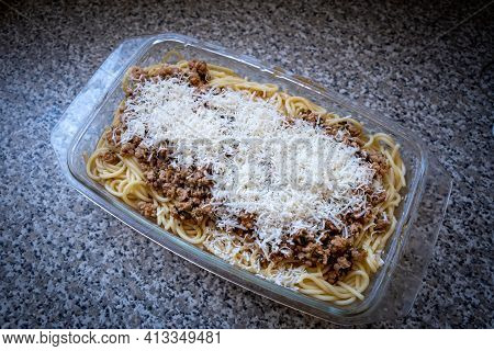 Spaghetti Bolognese With Haloumi White Cheese And Meat On A Bowl. Delicious Italian Cuisine. High Ca