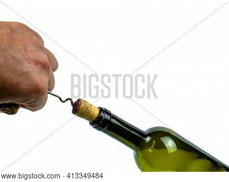 Open The Cork Of A Wine Bottle With A Hand Corkscrew. Wine Corkscrew. Cork Stopper. Human Hand. Kitc