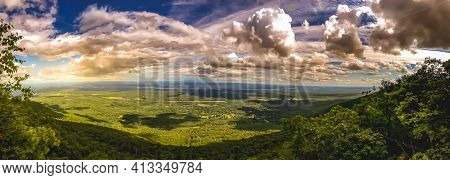 Vista of the Catskills from a scenic lookout near Andes, New York. Beautiful panoramic landscape of nature.