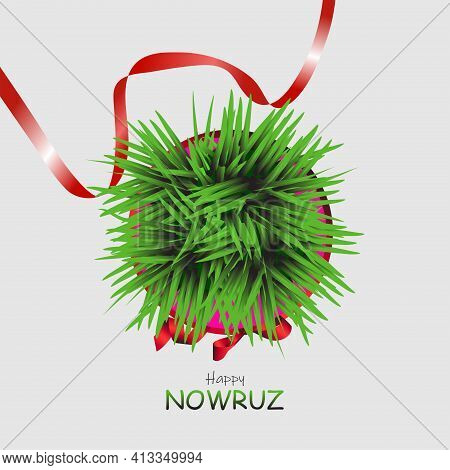 Happy Persian New Year (nowruz) Vector Illustration. Greeting Card, Poster And Banner. Green Wheat G