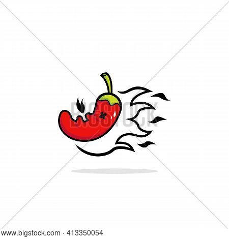 Super Hot Spicy Chilli Pepper Mascot Logo Character Icon Illustration With Flame Fire Burning Cartoo
