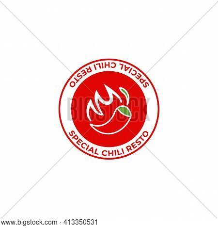 Spicy Restaurant Special Chili Logo Icon Symbol Hot With Fire Illustration Stamp Badge