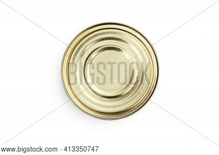 Closed Tin Can On A White Background.