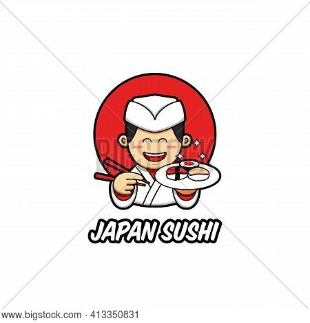 Japan Sushi Logo With Japanese Chef Mascot Character Wear Traditional White Chef Clothes Bring Sush