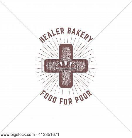 Healer Bakery Logo Badge. Vintage Hand Drawing Baguette Beard Social Logo Design