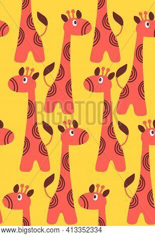 Hand Drawn Giraffe Seamless Pattern. Vector Illustration