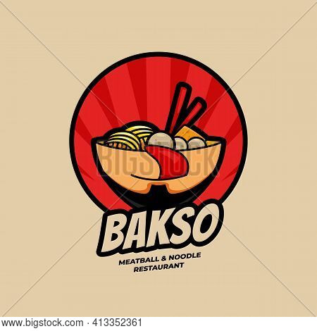 Delicious Ramen Bakso Meatball And Noodle Restaurant Bowl With Face Logo Symbol Icon Illustration